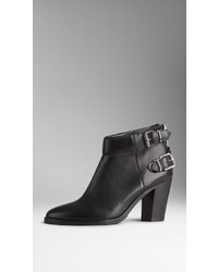 Burberry Double Buckle Leather Ankle Boots