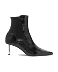 Alexander McQueen Embellished Glossed Leather Ankle Boots