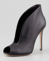 Gianvito Rossi Flared Split Front Peep Toe Ankle Boot Black