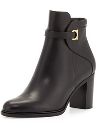 Salvatore Ferragamo Florian Leather 70mm Ankle Boot Black