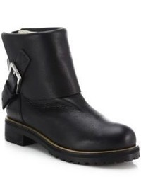 Chloé Fold Over Leather Ankle Boots