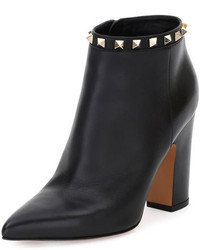 Valentino Garavani Rockstud Pointed Toe 100mm Ankle Boot Black