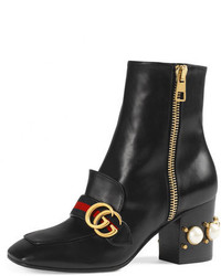 Gucci Peyton Pearly Heel Ankle Boot Black