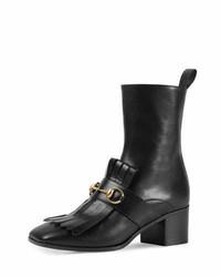 Gucci Polly Kiltie Leather Ankle Boot Nero