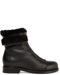 Jimmy Choo Denver Shearling Trimmed Leather Ankle Boots Black