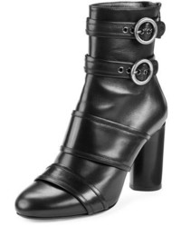 Lanvin Leather Buckle High Heel Bootie Black