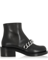 Givenchy Laura Chain Trimmed Leather Ankle Boots Black