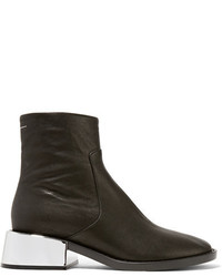 MM6 MAISON MARGIELA Leather Ankle Boots Black