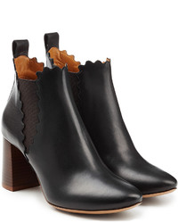 Chloé Leather Ankle Boots With Scalloped Trim