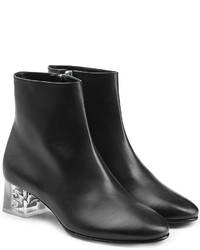 Alexander McQueen Leather Ankle Boots With Skull In Heel