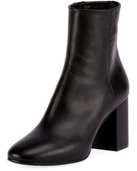 Balenciaga Leather Block Heel Ankle Boot Black