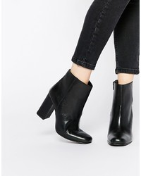 Boohoo Leather Block Heeled Ankle Boots