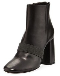 Brunello Cucinelli Leather Bootie W Back Zip