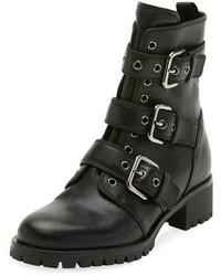 Prada Leather Buckle Combat Bootie Black
