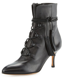 Valentino Leather Lace Up 70mm Bootie Nero