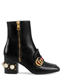 Gucci Leather Mid Heel Ankle Boot