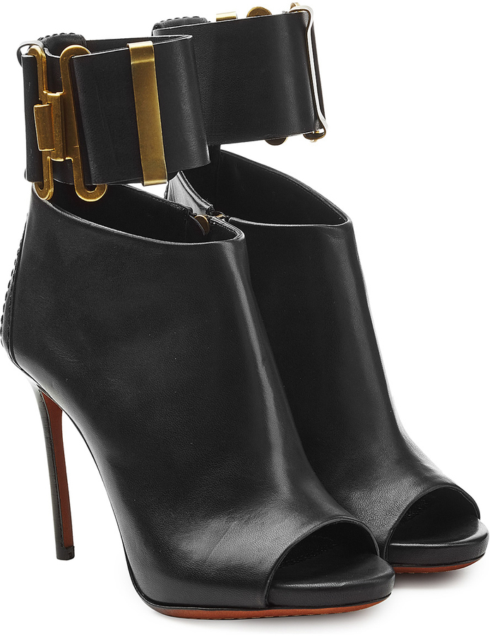 Dsquared2 Leather Open Toe Ankle Boots With Cuff