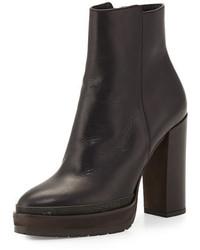 Brunello Cucinelli Leather Platform Ankle Boot Black