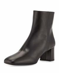 Prada Leather Square Toe 55mm Ankle Boot Black