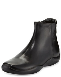 Prada Linea Rossa Leather Wavy Bottom Ankle Boot Nero