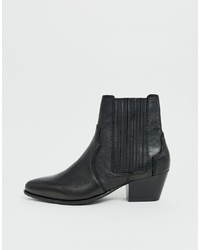 Mango Leather Western Chelsea Boot In Black