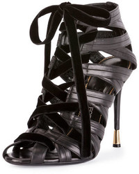 Tom Ford Leathervelvet Caged Open Toe Lace Up Bootie Black