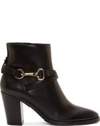 Burberry London Black Leather Bedford Ankle Boots