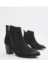 843dd80fe8ed ... Dune London Pontoon Leather Western Mid Heel Ankle Boots With Side Zip  Detail