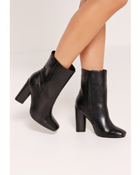 Missguided Faux Leather Heeled Ankle Boots Black