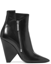 Saint Laurent Niki Leather Ankle Boots Black