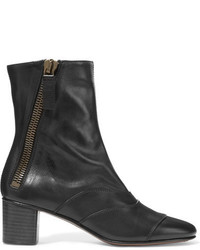 Chloé Paneled Leather Ankle Boots Black