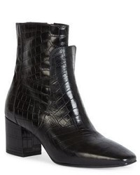 Givenchy Paris Line Croc Embossed Patent Leather Block Heel Booties