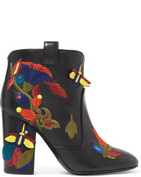 Laurence Dacade Pete Embroidered Leather Ankle Boots Black