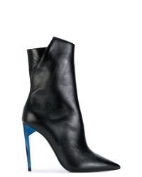 Saint Laurent Pointed Toe Contrast Heel Boots