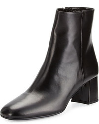 Prada Leather Square Toe 55mm Ankle Boot Black