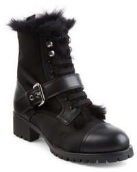 Prada Shearling Lined Leather Nylon Booties