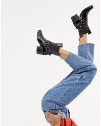 Mango Real Leather Western Ankle Boot With In Black