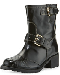 RED Valentino Perforated Leather Buckle Bootie Black