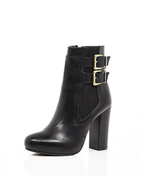 River Island Black Leather Buckle Heeled Ankle Boots