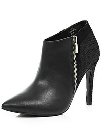 River Island Black Leather Pointed Toe Zip Ankle Boots