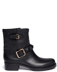 Valentino Rockstud Buckle Strap Leather Ankle Boots