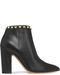 Valentino Rockstud Leather Ankle Boots Black