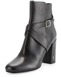 Saint Laurent Babies 90mm Ankle Strap Bootie Nero