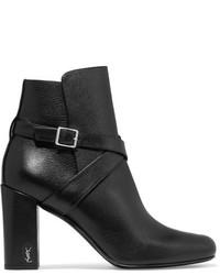 Saint Laurent Babies Buckled Leather Ankle Boots Black