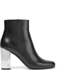 Saint Laurent Babies Metallic Trimmed Leather Ankle Boots Black