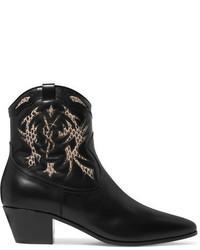 Saint Laurent Rock Ayers Paneled Leather Ankle Boots Black