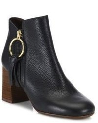 See by Chloe Dustin Leather Block Heel Booties