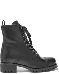 Prada Shearling Lined Leather Ankle Boots Black