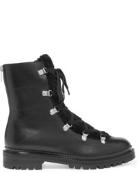 Jimmy Choo Shearling Trimmed Leather Ankle Boots Black