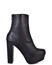 Steve Madden Desirred Leather Platform Ankle Boots In Black Size 10